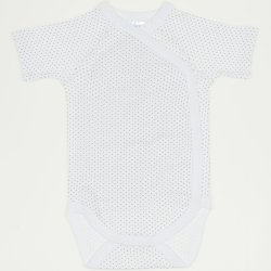Cream side-snaps short-sleeve bodysuit with brown dots