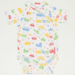 White side-snaps short-sleeve bodysuit with transport toys print