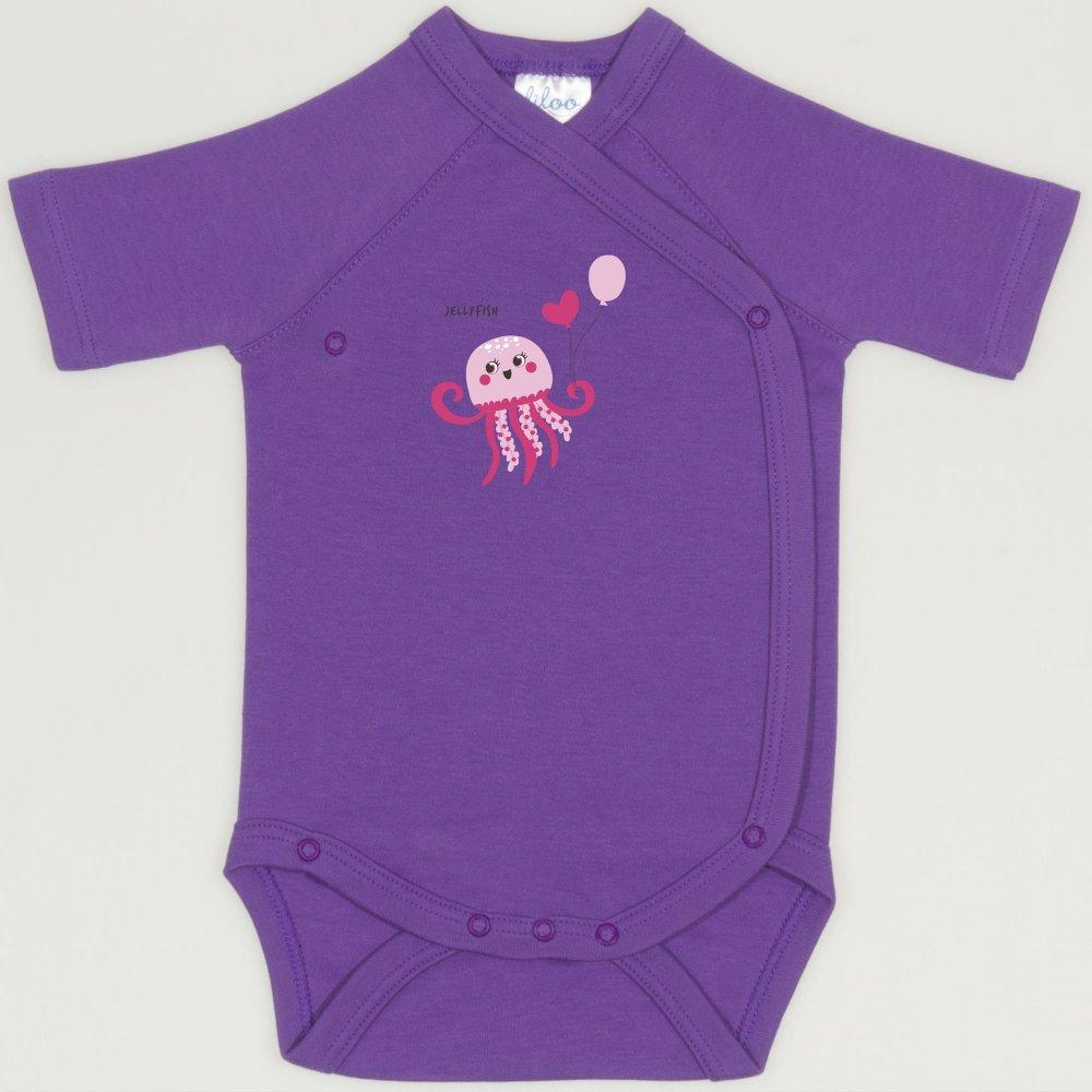 Body capse laterale maneca scurta mov deep lavender imprimeu meduza | liloo