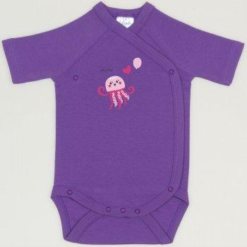 Body capse laterale maneca scurta mov deep lavender imprimeu meduza