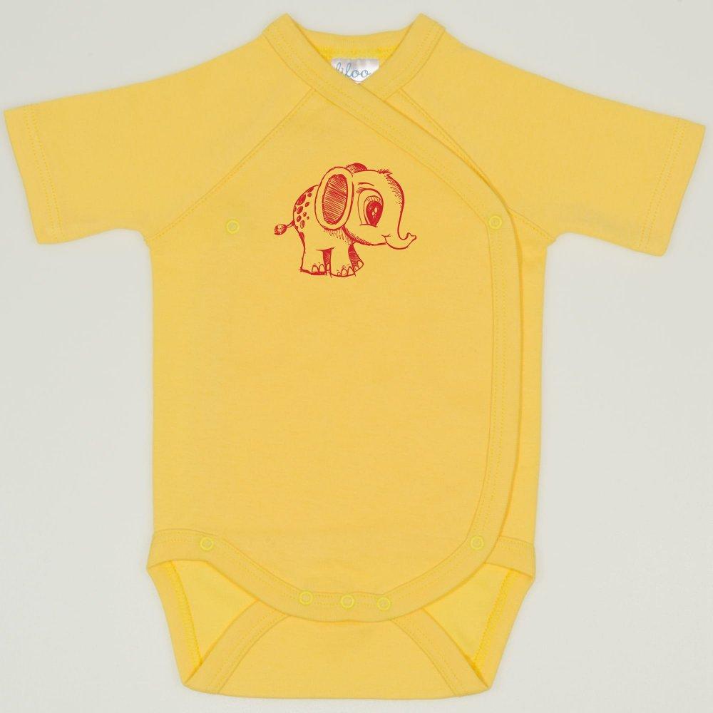 Body capse laterale maneca scurta minion yellow imprimeu elefantel | liloo