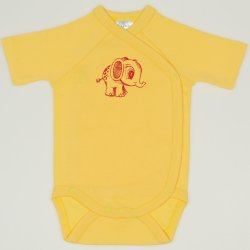 Minion yellow side-snaps short-sleeve bodysuit with elephant print