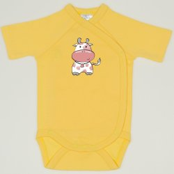 Minion yellow side-snaps short-sleeve bodysuit with cow print