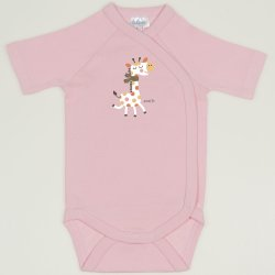 Orchid pink side-snaps short-sleeve bodysuit with giraffe print