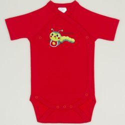 Red tomato side-snaps short-sleeve bodysuit with worm print