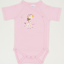 Pink side-snaps short-sleeve bodysuit with giraffe print