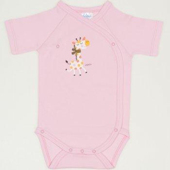 Body capse laterale mânecă scurtă roz imprimeu girafă | liloo
