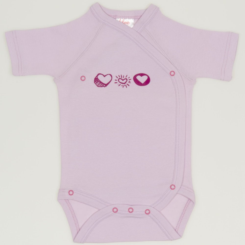 Body capse laterale maneca scurta roz imprimeu inimioare | liloo