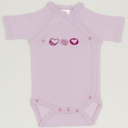 Pink side-snaps short-sleeve bodysuit withheart print
