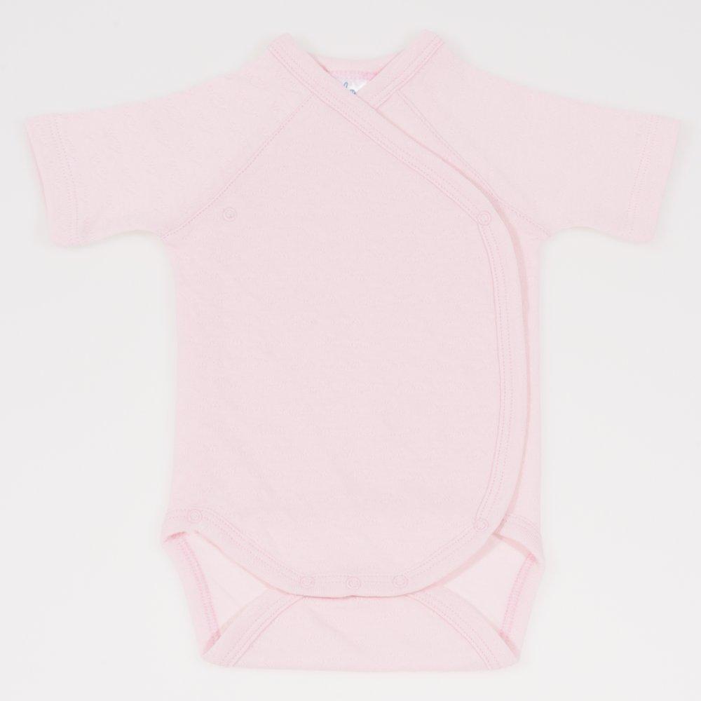 Body capse laterale maneca scurta roz pal - material multistrat premium cu model   liloo