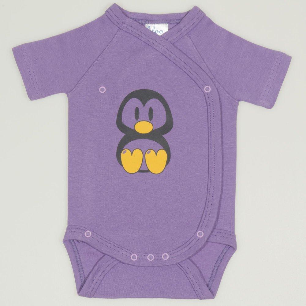 Body capse laterale maneca scurta violet imprimeu pinguinul Tux | liloo