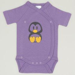 Body capse laterale maneca scurta violet imprimeu pinguinul Tux