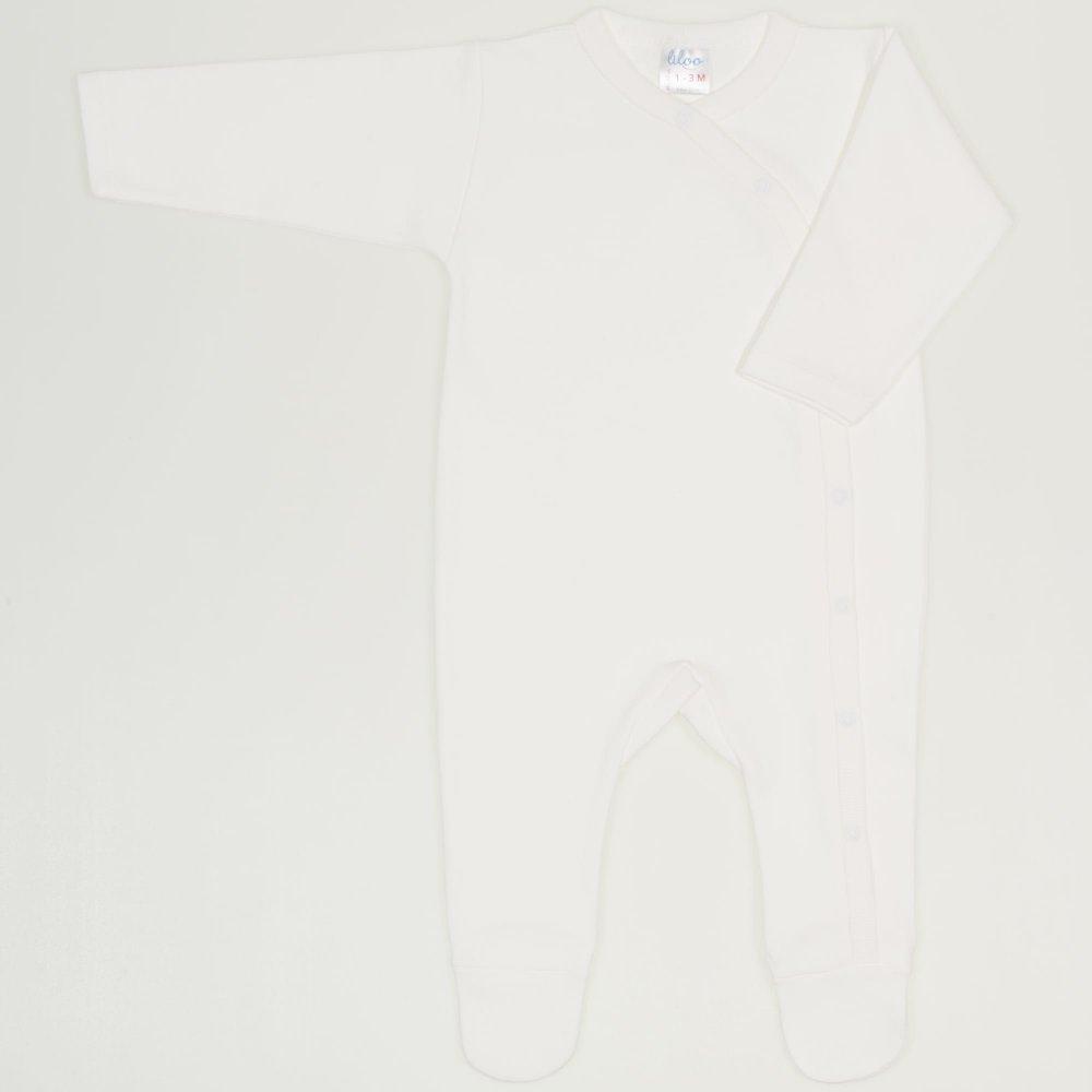 Salopeta maneca lunga si pantaloni cu botosei blanc de blanc uni | liloo