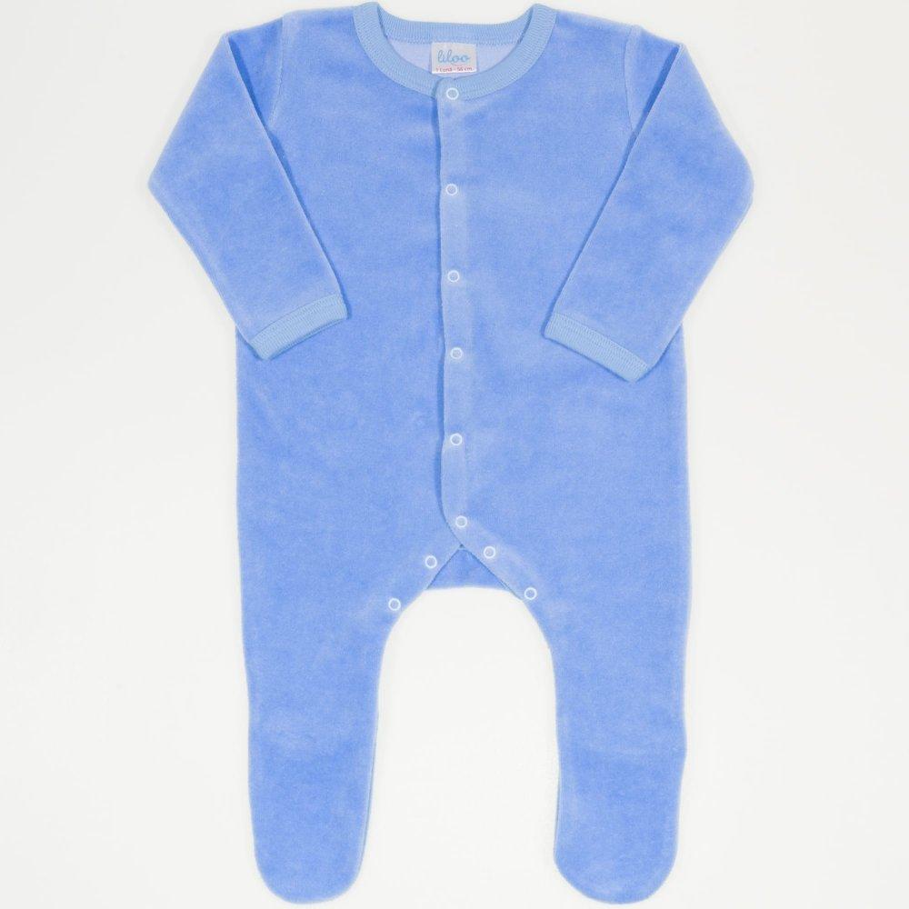 Salopetă catifea - mânecă lungă și pantaloni cu botoșei azur | liloo