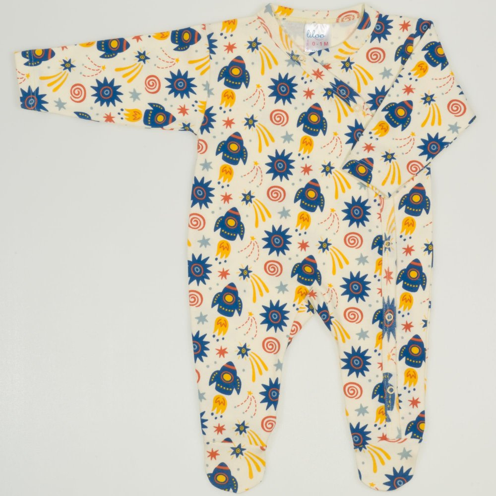 Salopeta maneca lunga si pantaloni cu botosei imprimeu model stars-rockets | liloo