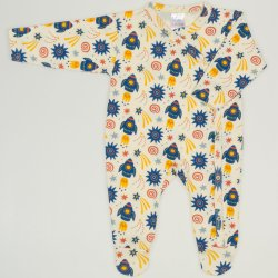 Long-sleeve sleep & play with footies with stars-rockets print