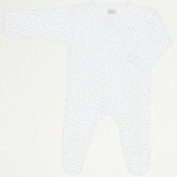 Salopetă mânecă lungă și pantaloni cu botoșei albă buline multicolore