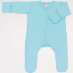 Blue radiance long-sleeve sleep with gloves - center-snap