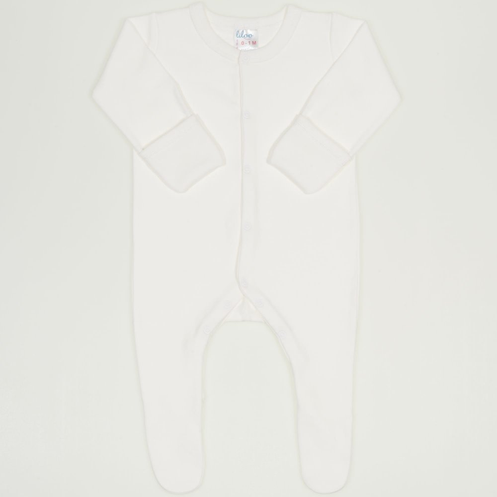 Salopeta maneca lunga cu manusi blanc de blanc uni - inchidere frontala| liloo