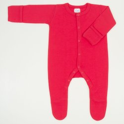 Red tomato long-sleeve sleep with gloves - center-snap