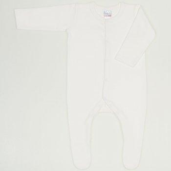 Salopeta maneca lunga si pantaloni cu botosei blanc de blanc uni – inchidere frontala