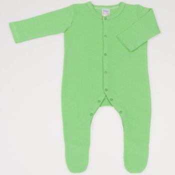 Salopeta maneca lunga si pantaloni cu botosei irish green uni - inchidere frontala
