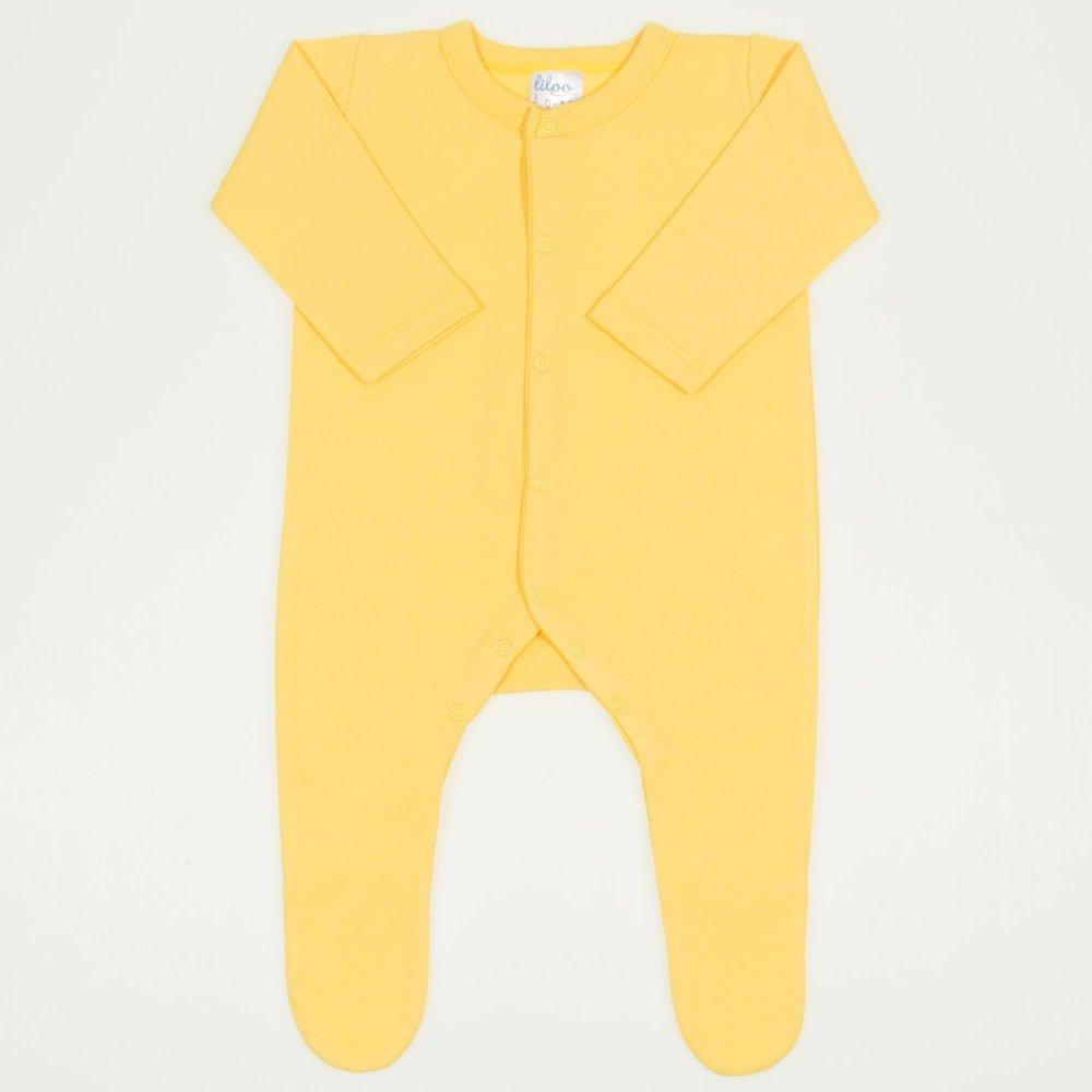 Salopeta maneca lunga si pantaloni cu botosei minion yellow uni - inchidere frontala | liloo