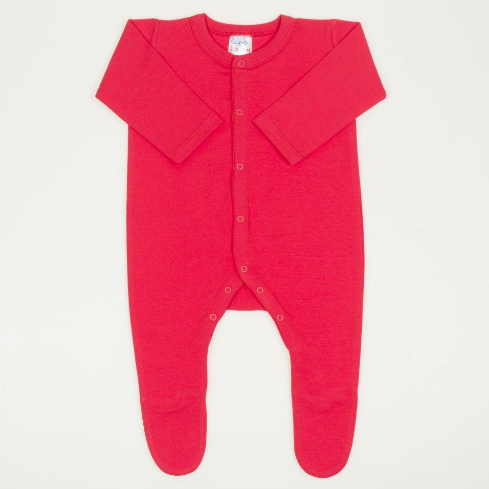 Salopeta maneca lunga si pantaloni cu botosei rosu tomato uni - inchidere frontala | liloo
