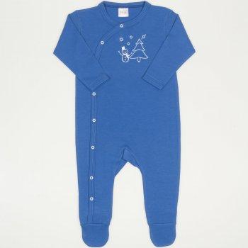 Salopeta maneca lunga si pantaloni cu botosei albastra imprimeu om de zapada si bradut