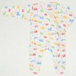 Salopeta maneca lunga si pantaloni cu botosei alba imprimeu model jucarii transport | liloo