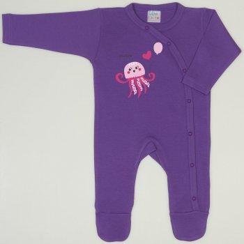 Salopeta maneca lunga si pantaloni cu botosei mov deep lavender imprimeu meduza | liloo