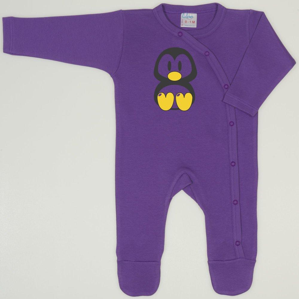 Salopeta maneca lunga si pantaloni cu botosei mov deep lavender imprimeu pinguinul Tux | liloo