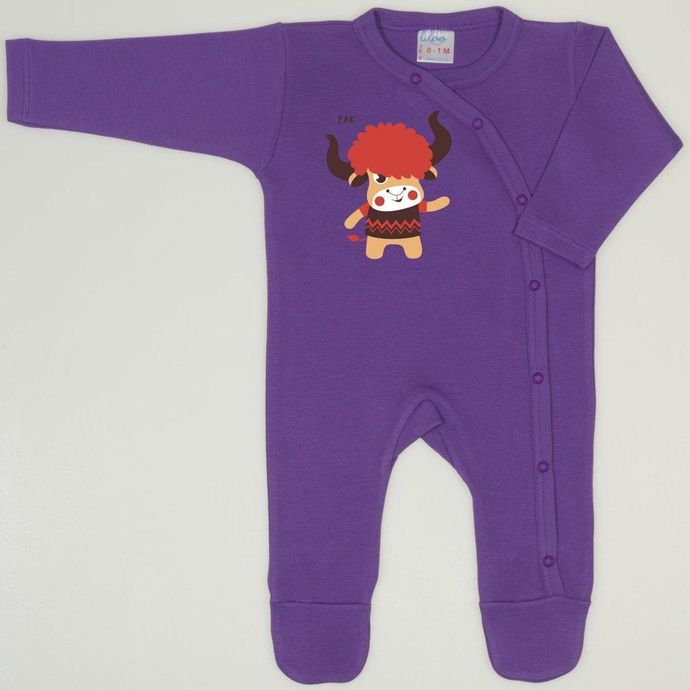 Salopeta maneca lunga si pantaloni cu botosei mov deep lavender imprimeu Yak  | liloo