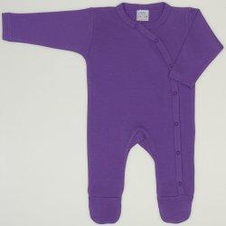 Salopeta maneca lunga si pantaloni cu botosei mov deep lavender uni