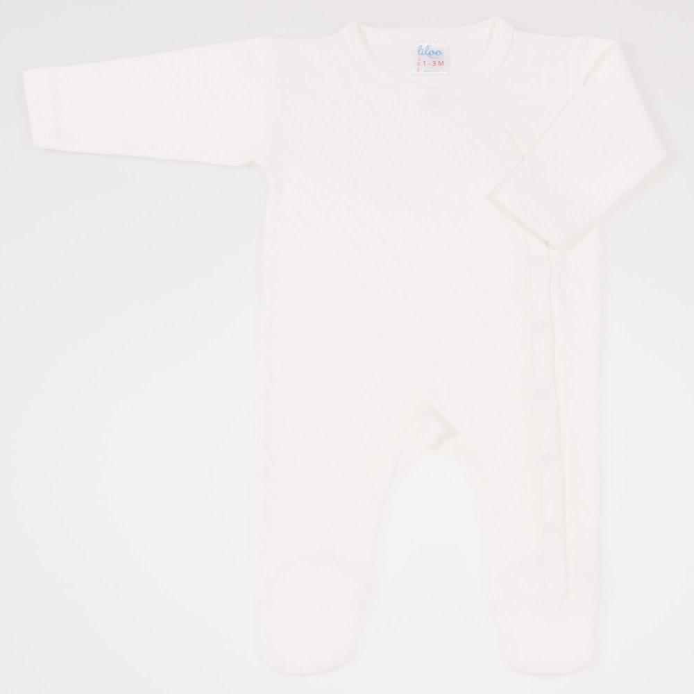 Salopeta maneca lunga si pantaloni cu botosei ecru - material multistrat premium cu model | liloo