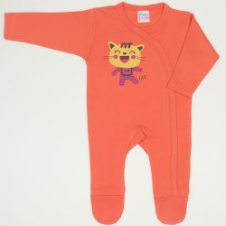 Salmon living coral long-sleeve sleep & play with footies with funny cat print
