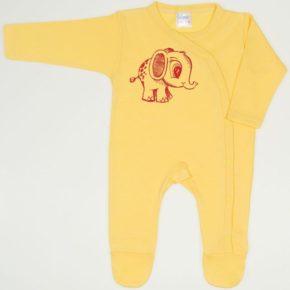 Salopeta maneca lunga si pantaloni cu botosei minion yellow imprimeu elefantel | liloo