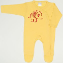 Minion yellow long-sleeve sleep & play with footies with elephant print