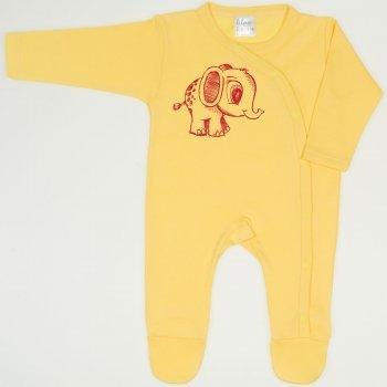 Salopeta maneca lunga si pantaloni cu botosei minion yellow imprimeu elefantel