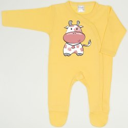Minion yellow long-sleeve sleep & play with footies with cow print