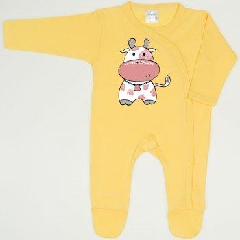 Salopeta maneca lunga si pantaloni cu botosei minion yellow imprimeu vacuta