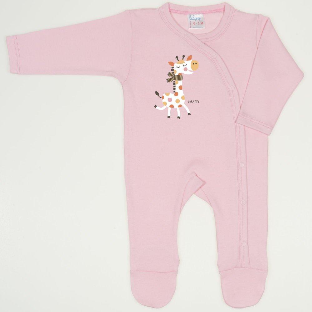 Salopeta maneca lunga si pantaloni cu botosei orchid pink imprimeu girafa| liloo