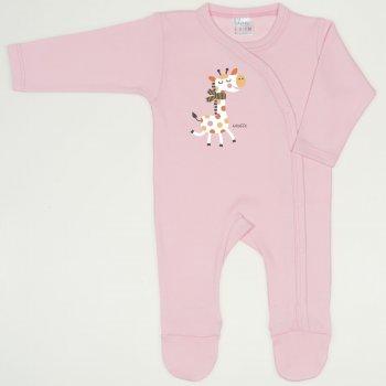 Salopeta maneca lunga si pantaloni cu botosei orchid pink imprimeu girafa