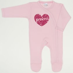 Orchid pink long-sleeve sleep & play with footies with princess print