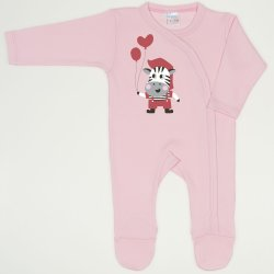 Orchid pink long-sleeve sleep & play with footies with zebra with balloons print
