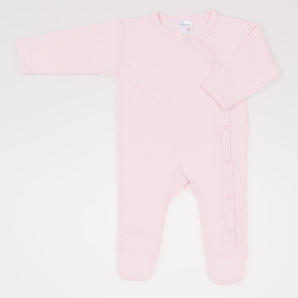 Salopeta maneca lunga si pantaloni cu botosei roz pal - material multistrat premium cu model | liloo