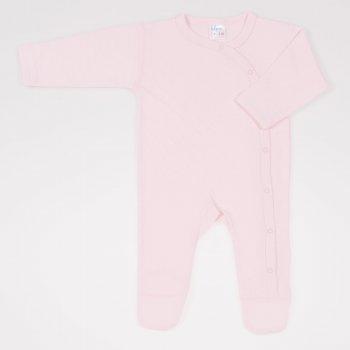 Salopeta maneca lunga si pantaloni cu botosei roz pal - material multistrat premium cu model