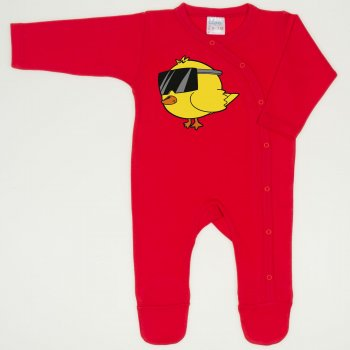 Salopeta maneca lunga si pantaloni cu botosei rosu tomato imprimeu pui cu ochelari