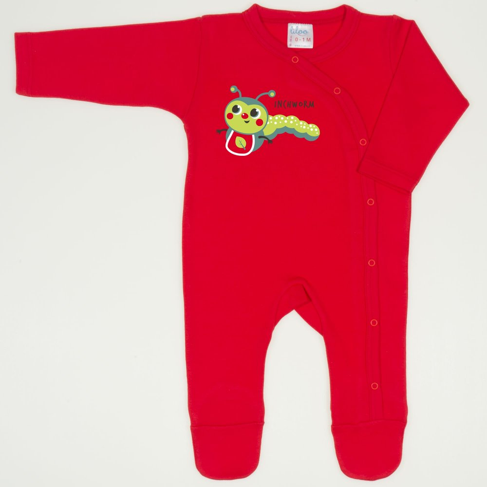 Salopeta maneca lunga si pantaloni cu botosei rosu tomato imprimeu viermisor | liloo