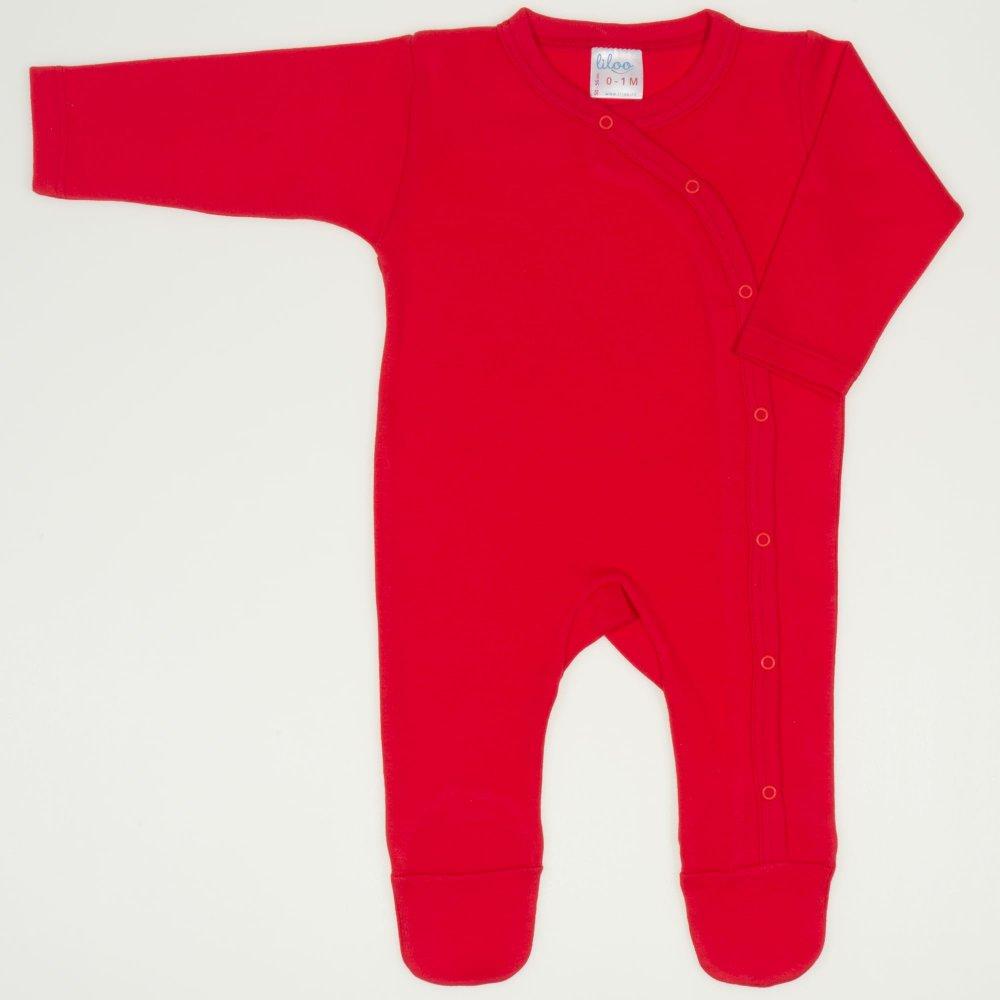 Salopeta maneca lunga si pantaloni cu botosei rosu tomato uni | liloo